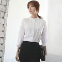 Long-sleeved shirt blouse tops women's adult classy formal white stand collar no color plain simple commuter Office ◎ order today will ship 6/17