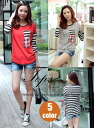 T shirt long sleeve women's sewn tops border scheme by color round collar crew neck Dolman sleeve pocket casual 5 color: order today will ship 6/19