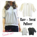 5-sleeves mini back hair race switch tops 3-color lace fabric half sleeves feminine floral sheer sense of cut and sewn pullover ◎ order today 6/10 will ship
