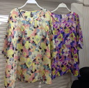 So-called catteau tops Dolman sleeve floral floral pattern women's short sleeve loose chiffon shirt blouse T shirt Momonga ◎ order today will ship 6/26