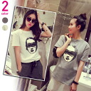 Short Sleeve T shirts women's spring summer face print tops short sleeve sewn neck casual simple: order today will ship 6/24