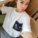 Short Sleeve T shirt sewn tops women's spring summer white cat cat print Pocket loose crew neck with casual mode MODE • order today will ship 6/24