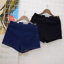 Denim shorts Chopin hotpants jeans bottoms women's high waist simple side-zip casual ◎ order today will ship 8/17
