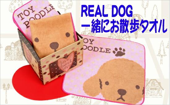 REAL DOG 一緒にお散歩タオル トイプードル(ピンク)