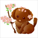 A poodle and cherry tree sticker
