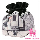 DrawString pouch (with lace) Cafe Paris series poodles / poodle / gadgets / pouch / wristlet / bag / dogs / dog