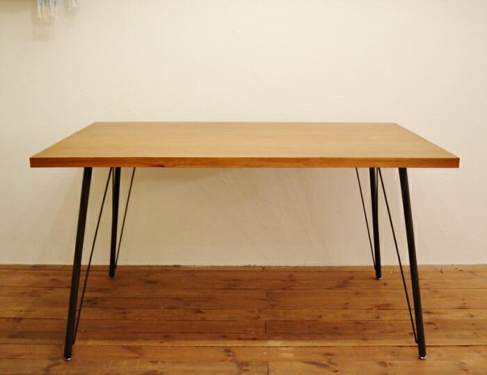 ダイニングテーブルFKオークLBR アイアン脚がかわいいカフェ風のダイニングテーブル