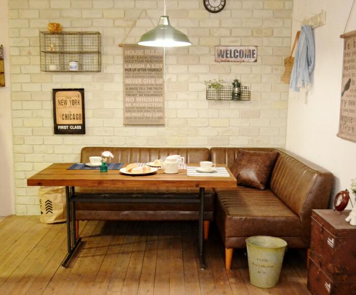 LDセットJMパイン古材140DBR ラウンジスタイルにおすすめ☆パイン古材のテーブルとダークブラウンのL型ソファセット