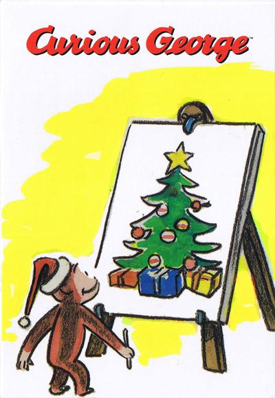 キュリアスジョージ クリスマスポストカード イーゼル