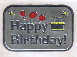 ホイルステッカー Happy Birthday シルバー