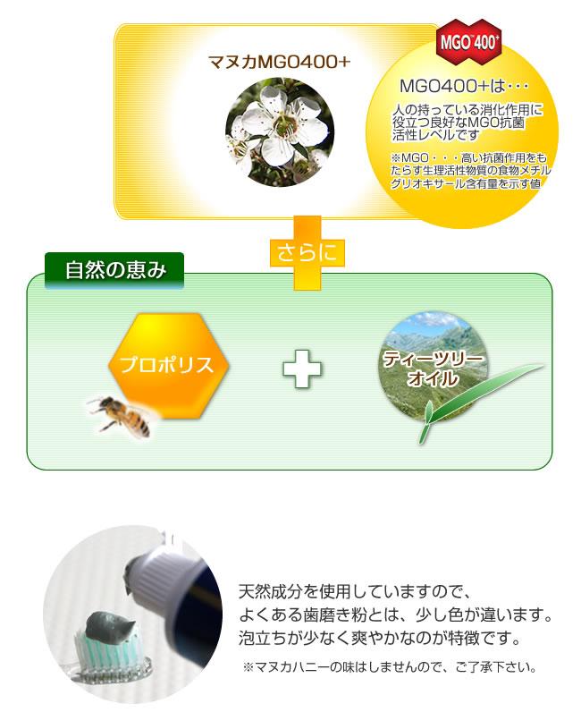 マヌカMGO400+&プロポリス歯磨きは抗菌作用の高い天然成分を使用していますので、通常の歯みがきとは少し違いますが、ティーツリーオイルが香りを爽やかに演出します。
