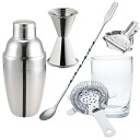 Bartender set B:Cocktail shaker・mixing glass・ strainer・measuring cup・bar spoon・lemon iris diaphragm