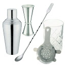 Bartender set pro:Cocktail shaker・Mixing glass・strainer・Measuring cup・Bar spoon