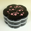 Made in Japan.Two-step hors d'oeuvre lunch box(Cherry blossom)Black・Large