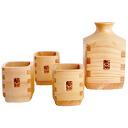 Kiso-hinoki-corner gulped, set of 4