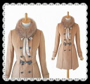Wool coat 05P13Dec13 where the double button with a refined rial fur collar is wonderful