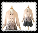 Collar detachable elegant gradient prints 7 sleeve spring coat. ★