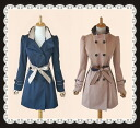 The double button light overcoat reversible ribbon which can enjoy various designs