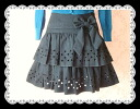 Two steps of beads ribbon flared skirts★