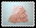 myrrh slant frill made in large special price Japan is one piece in salmon pink chiffon skirt spring when it seems to be a wonderful woman★