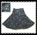 Very clean spangles entire surface embroidery flower flared skirt knee length floral design skirt chiffon skirt
