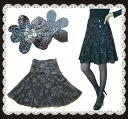 Ranked number 1! up to a beautiful sequin completely flower embroidered flared skirt beauty leg effect knee-knee-length party from the floral skirt chiffon skirt Womens black S M L XL casual! all-season a big success