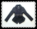 Big collar Stai Risch jacket with an elegant rich wide belt