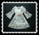 Elegant feather cute flower print seven-minute flare sleeves チュニックシフォンワン piece
