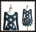 Entering pretty floral design gathers puff sleeve thick knit one piece
