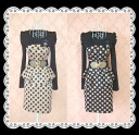 ★ classy and elegant princess style polka 2-stage フレアタイトワン piece ( with gathers puff sleeve,