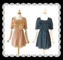 Cute ruffled sleeves 2-stage race frilsiphong-Wan piece a feminine ★
