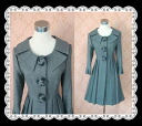 ★Wool coat of collar pleats three-quarter sleeves young lady having a cute gradation rose line