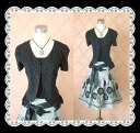 ★ 2 point set ★ satin strapless ruffle Cardigan + floating flower skirt 2 piece set