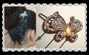 Big butterfly hairpin (yukata, hairstyle arrangement パッチン flagging down, hair ornament, summary hair, hair accessories hair arrangement) that a rhinestone shining to and fro is clean