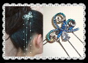Hairpin (yukata, hairstyle arrangement パッチン flagging down, hair ornament, hair accessories) which shine to and fro that a large drop of rhinestone is clean