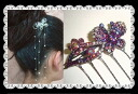 Butterfly flower heart hairpin (yukata, hairstyle arrangement パッチン flagging down, hair ornament, summary hair, hair accessories hair arrangement) that a rhinestone shining to and fro is clean