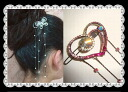 Large drop of heart hairpin (yukata, hairstyle arrangement パッチン flagging down, hair ornament, hair accessories) that a rhinestone shining to and fro is clean★