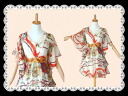 ★ nice designs such as the two-point set ★ yukata ♪ darned feminine scarf print ★ fluttering flowing lines are one piece with a slip