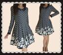 Neat beads flower elegant flower pattern & check dress