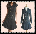 The silhouette pleats one piece which the small face effect big collar that a bit big belt is wonderful has a cute
