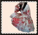 The double flare sleeve one piece where the waste flowers such as the silk-like watercolor are very beautiful
