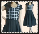 The checked pattern chiffon long one piece which a back design has a cute