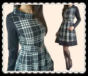 Subclavian a cleaner look a feminine neckline neat and clean check pattern dress see-through hem her up! S-M-L-XL