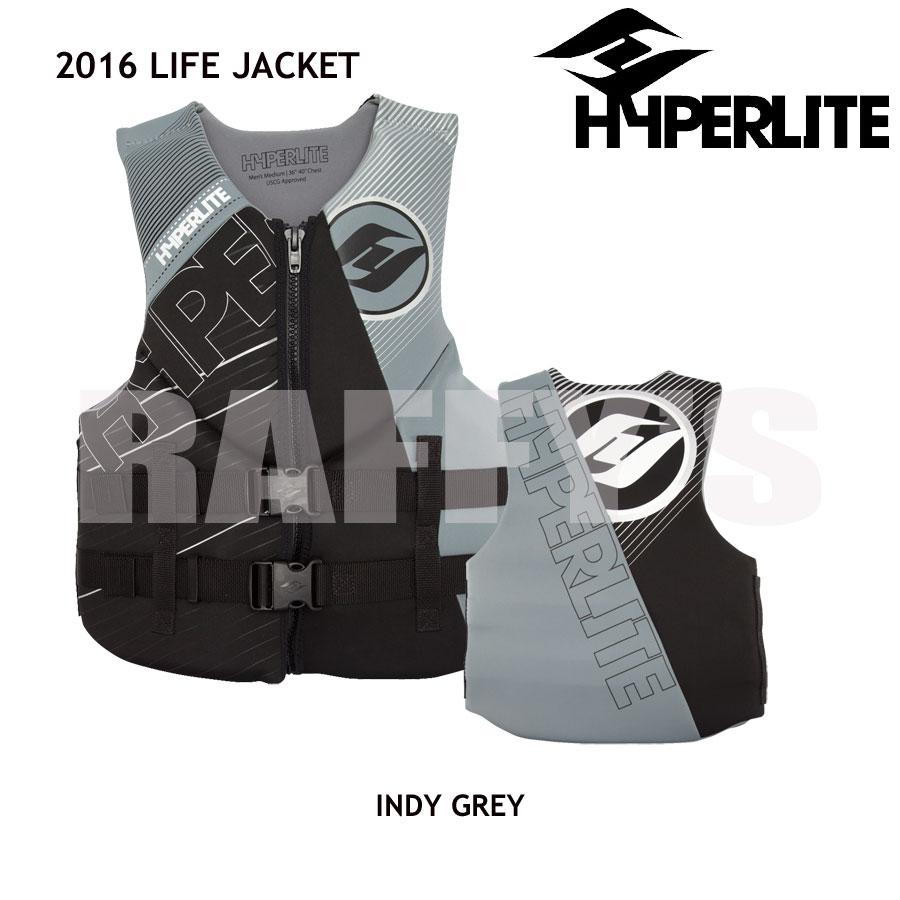 HYPERLITEハイパーライト2016ウェイクボードライフジャケットINDYNEOVESTGREY