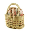 8,963 yen bamboo basket drawstring purse bag nostalgic striped pattern gray / orange basket bag basket drawstring purse basket goes back by a review mention