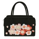 Reviews listed at 900 yen OFF uchikake kimono bag crepe embroidery Sakura black Rikyu bag for long-sleeved dress Quinceanera s0