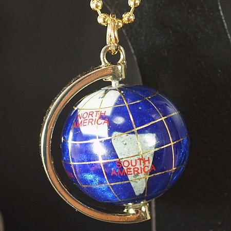 宝石 地球儀キーリング キーホルダー ブルー