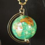 宝石 地球儀キーリング キーホルダー ライトグリーン
