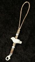 小鳥シルバーカラフルロウ引き紐ストラップ