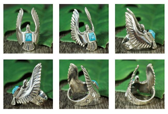 ネイティブアメリカンイーグルフェザーシルバーリング指輪